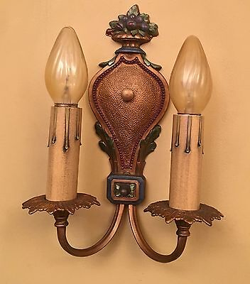 Vintage Lighting matched pair 1920s polychrome Sconces