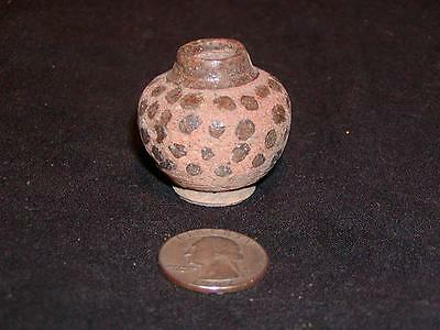 Antique NATIVE AMERICAN INDIAN CLAY POT, Early, Polka Dot Decorated, Miniature