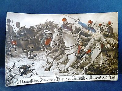 Postcard WWI France French Horse Calvary War Scene Hunting in Africa
