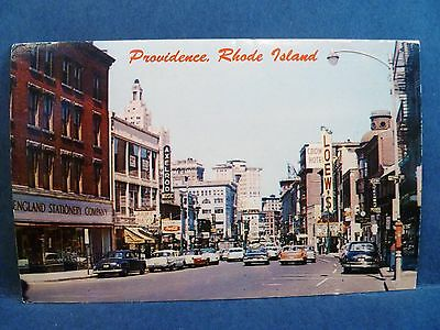 Postcard RI Providence 1950's Weybosset Street View Old Cars & Stores