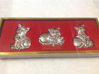 Gorham Silver Nickel Plated 3 Cats Kitty Cat Christmas Holiday Ornaments NIB