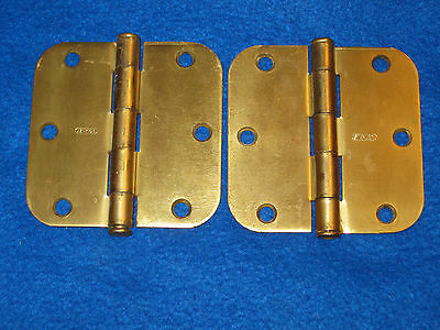 Lot of 2 Vintage Stanley Brass Plated Steel Door Hinges Made in USA 3 1/2""