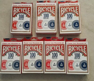 Poker Chips -700 Count  -3 Values -Bicycle Branded -Durable Washable Plastic 7