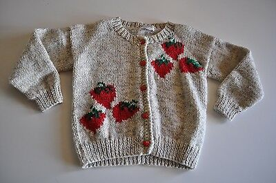 Vintage Handmade Sweater with Strawberries size 5T Long Sleeve cute Winter