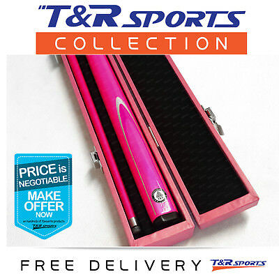 Pink Full Length 2-Piece Pool Snooker Billiard Graphite Cue With Pink Case AU