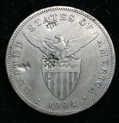 1904s Peso US-Philippines  Silver Coin w/ Chinese Chopmarks - lot#14