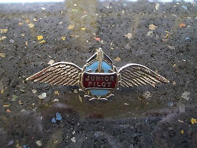 Vintage Junior Pilot Cloisonné Pin - Airline Pilot Wing Cap Badge Defunct