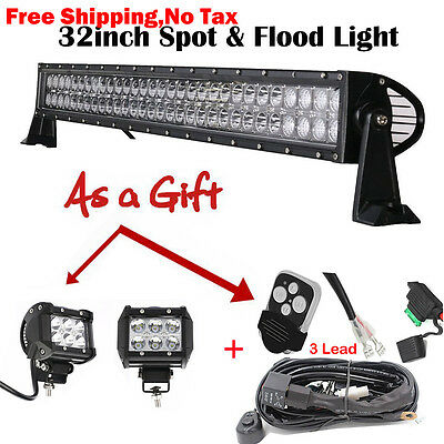 """32 inch LED Light Bar Flood Combo + 4"""" Pods Spot Work 4X4 Offroad Truck Jeep SUV"""