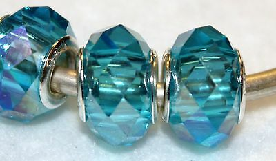 2x AB WATER BLUE STERLING SILVER MURANO GLASS BEADS LOT Y63 FITS CHARM BR
