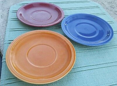 """Coors Pottery Rock Mount Lot of 3 Saucers, Orange Blue Maroon Red, 5-3,4"""""""