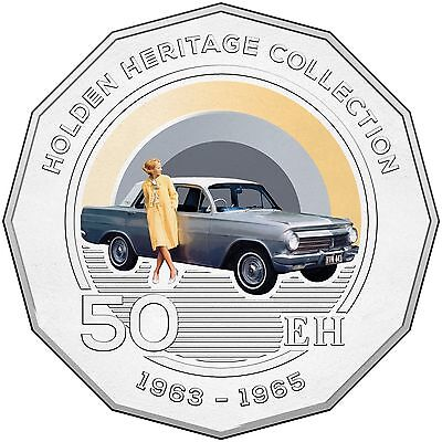 2016 RAM 50c UNCIRCULATED COLOURED COIN HOLDEN HERITAGE COLLECTION - EH HOLDEN