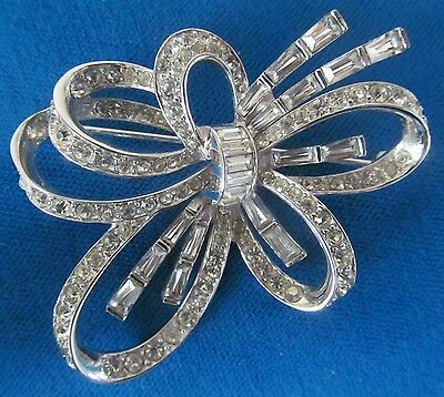 Marcel Boucher Stunning Vintage Brooch Decorated  With Clear Rhinestones