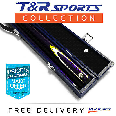 Purple Full Length 2-Piece Pool Snooker Billiard Graphite Cue With Blue Case AU