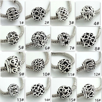 hot 10pcs retro Tibetan silver spacer round beads fit European Charm Bracelet