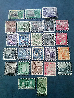 Malta 25 Old Stamps Mint & Used