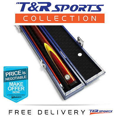 Wine Full Length 2-Piece Pool Snooker Billiard Graphite Cue With Blue Case AU