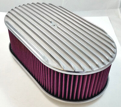 """15"""" x 4"""" Oval Polished Aluminum Full Finned Air Cleaner W/ Washable Filter 4 Brl"""