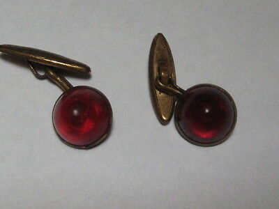 Vintage Deco Ruby Red Lucite Dome Cabochon Link Cufflinks