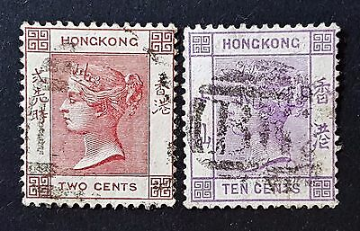 Hong Kong 1880 2c and 10c Fine Used HR Stamps CV £58.00
