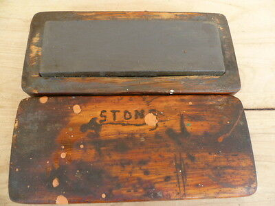 Vintage Old  Timber, Cased Sharpening Stone, Old Tool (C335)