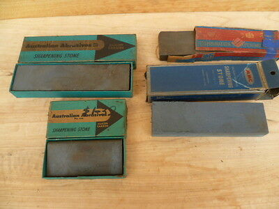 Vintage Old Sharpening Stones, In Boxes Old Tools Lot 'x4' (C336)