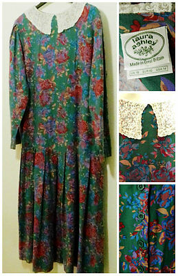 Laura Ashley Vintage Dress Size UK 16 Lace Collar Long Sleeves Cotton W Wool