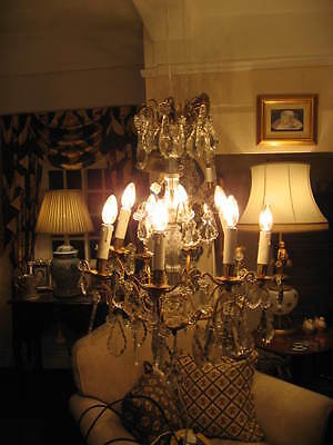 French Antique Large 8 Branch Chandelier Lead & Crystal Pedagogues  Drops /3850