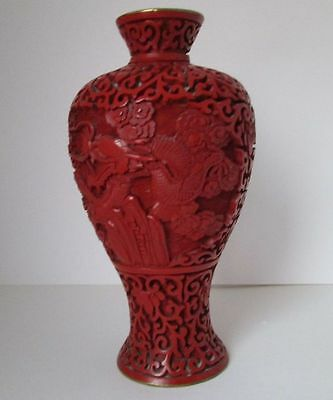 FINE  CHINESE CINNABAR LACQUER VASE, metal and blue enamel.