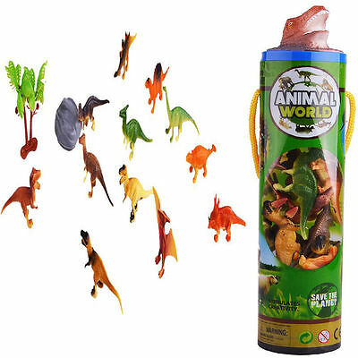 Lot 12pc Plastic Dinosaur Animal Mini Model Action Figures Kids Toy Xmas Gift