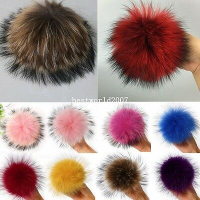 13cm Large Real Raccoon Fur Ball Keyring Pom Charm Handbag Clothes Keychain