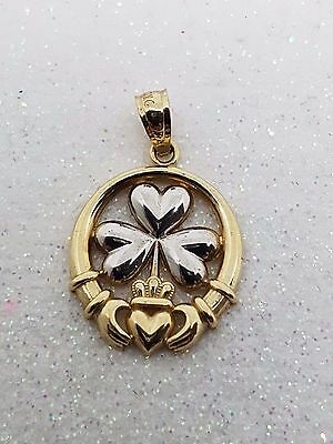 100% Genuine 9K Y/gold & White Gold Claddagh Pendant - Beautiful