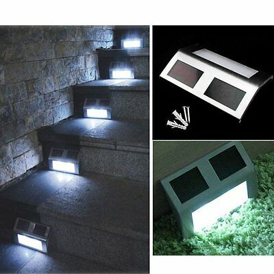 Solar Panel Powered 2LED Light for Pathway Deck Outdoor Stair Step Garden Yard