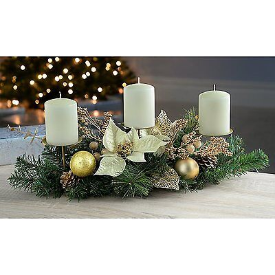Christmas Decorated Table Centre Piece with 3 Pillar Candle Holder, 52 cm - Crea
