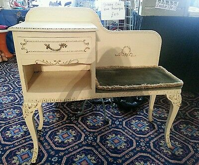 Louis Vintage Shabby Chic Telephone Seat Cabinet Desk