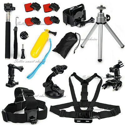 28in1 Accessories Pack Chest Head Monopod Roll Bar Mount for GoPro Hero 5 4 3+
