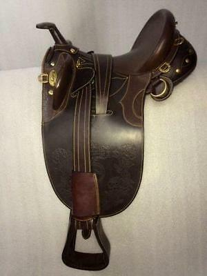 International Quality Branded Leather Australian Stock Saddle Brown with Horn