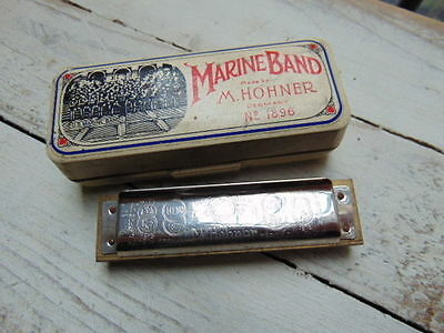 Vintage Hohner 1896 Marine Band Harmonica D Made In Germany