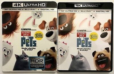 The Secret Life Of Pets 4K Ultra Hd Uhd Blu Ray 2 Disc Set + Slipcover Sleeve