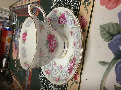 Royal Tuscan white with Pink roses Demitasse-fine bone china-made in England