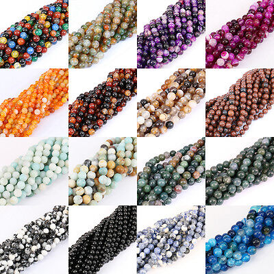 1 String Nature Agate Round Gemstone Loose Spacer Beads Stone 4/6/8/10/12mm 15""