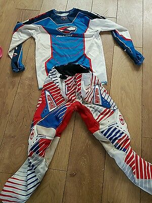 boys motocross suit size 26 pants and XL tshirt
