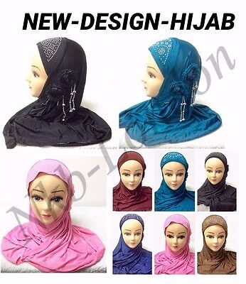 Muslim Kids Girls Ladies Hijab Islamic Headscarf Lace Pearl Hijab Scarf Shawls