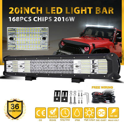 "20""INCH 630W PHILIPS Led Light Bar Spot Flood Combo Offroad Driving Lamp 4WD 23"""