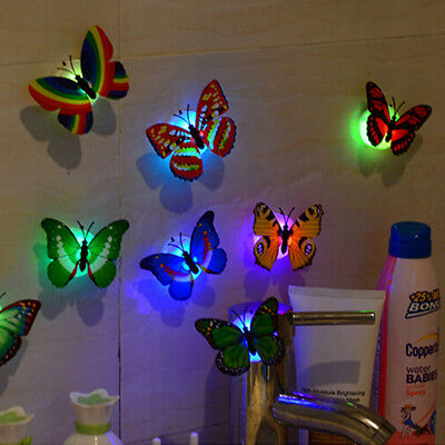 10 x Colors Changing LED Flashing Butterfly Night Light 3D Stickers Home Decor