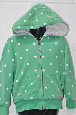 Little Girls Green Spotted Fllece Lined Hooded Jacket UK Age 3-4 Yrs Mini Boden
