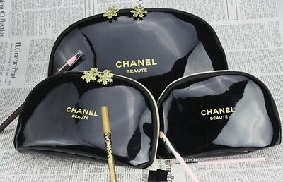 Brand New CHANEL Cosmetic  Set Of 3 Make Up Bags!