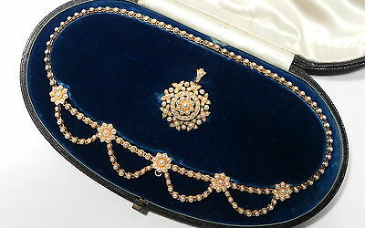 Stunning Antique Victorian 15ct Gold Pearl Lavaliere Pendant Suite & Fitted Case