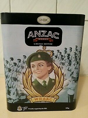 """Limited Edition Unopened Anzac Biscuit Tin """"wraac' 2016~Unibic"""