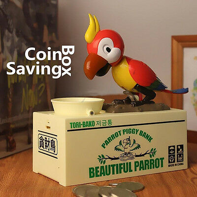 Hungry Robotic Parrot Puppy Bank Coin Eating Save Saving Canine Money Box Gift