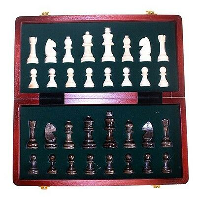 Staunton Zoocen HQ Wood Pieces Folding Chess Set Gift 29cm with King 6.35cm